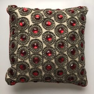 """Red & pewter beaded 12"""" pillow"""